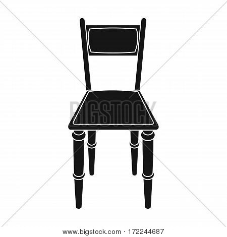Wooden chair icon in black design isolated on white background. Library and bookstore symbol stock vector illustration.