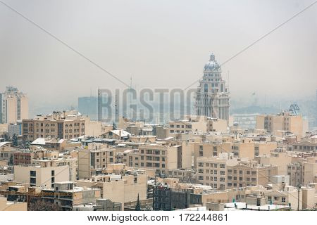 Silent ascetic cityscape. Pastel buildings are close to each other