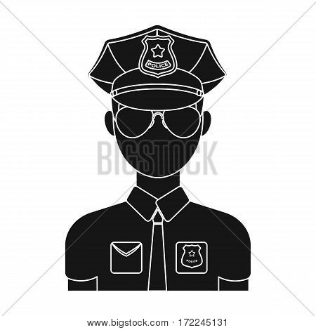Police officer icon in black design isolated on white background. Police symbol stock vector illustration.