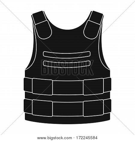 Bulletproof vest icon in black design isolated on white background. Police symbol stock vector illustration.