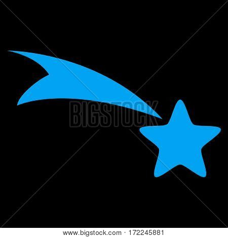 Falling Star flat icon. Vector blue symbol. Pictogram is isolated on a black background. Trendy flat style illustration for web site design logo ads apps user interface.