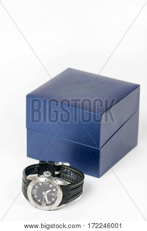 Sports Wrist Watch With Box Isolated Over White