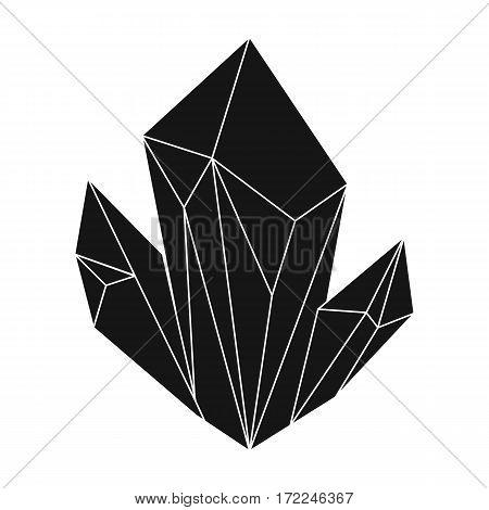 Blue natural mineral icon in black design isolated on white background. Precious minerals and jeweler symbol stock vector illustration.