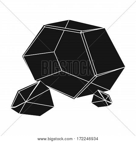 Purple rough gemstone icon in black design isolated on white background. Precious minerals and jeweler symbol stock vector illustration.