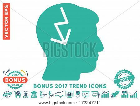Cobalt And Cyan Brain Electric Strike pictograph with bonus 2017 trend design elements. Vector illustration style is flat iconic bicolor symbols white background.