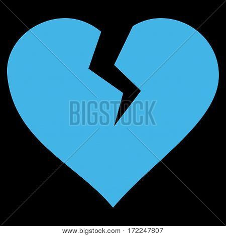 Heart Break flat icon. Vector blue symbol. Pictograph is isolated on a black background. Trendy flat style illustration for web site design logo ads apps user interface.