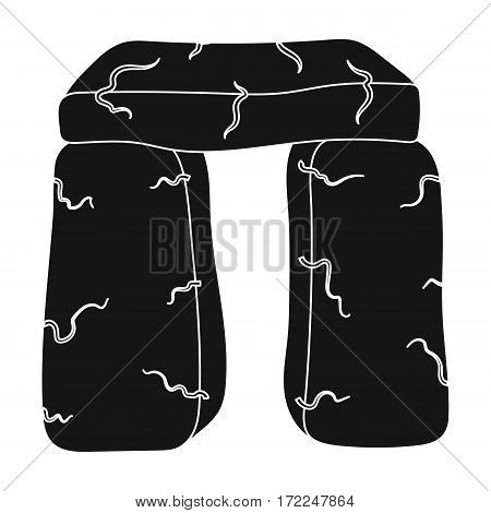 Scottish stone monument icon in black design isolated on white background. Scotland country symbol stock vector illustration.