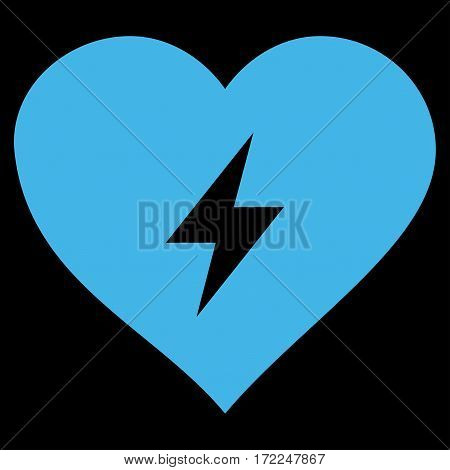 Heart Power flat icon. Vector blue symbol. Pictograph is isolated on a black background. Trendy flat style illustration for web site design logo ads apps user interface.
