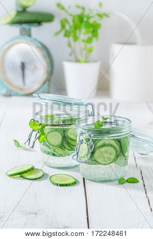 Refreshing Water In Jar With Mint And Fresh Cucumber