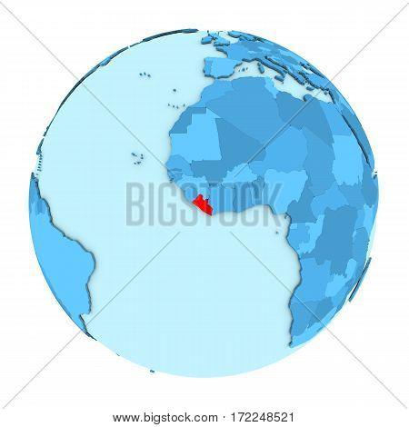 Liberia On Globe Isolated