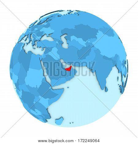 United Arab Emirates On Globe Isolated