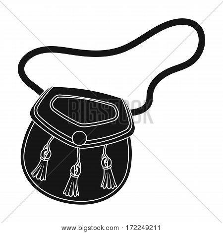 Scottish sporran icon in black design isolated on white background. Scotland country symbol stock vector illustration.