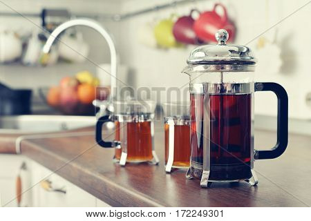 French Press With Tea And Cups
