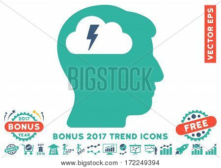 Cobalt And Cyan Brainstorming pictogram with bonus 2017 trend design elements. Vector illustration style is flat iconic bicolor symbols white background.