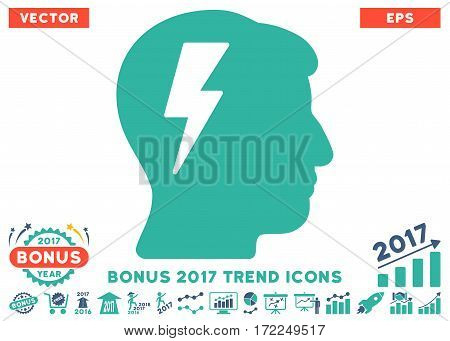Cobalt And Cyan Brainstorming icon with bonus 2017 trend elements. Vector illustration style is flat iconic bicolor symbols white background.