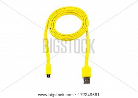 yellow usb-cable micro usb isolated on white background