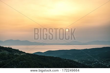 Sunrise View Of Mountains And Sea On Aegina Island, Greece.