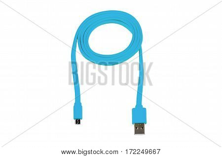 blue usb-cable micro usb isolated on white background