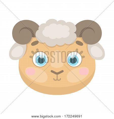 Ram muzzle icon in cartoon design isolated on white background. Animal muzzle symbol stock vector illustration.