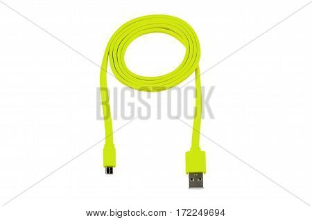 light green usb-cable micro usb isolated on white background