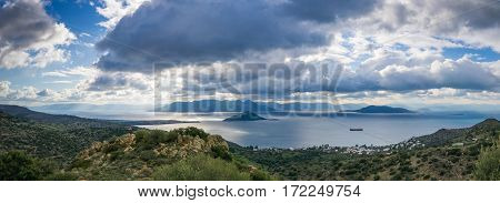 Landscape of mountains and sea on Aegina island Greece