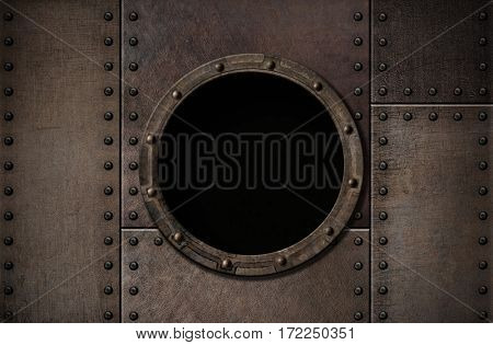 submarine porthole metal rusty background 3d illustration