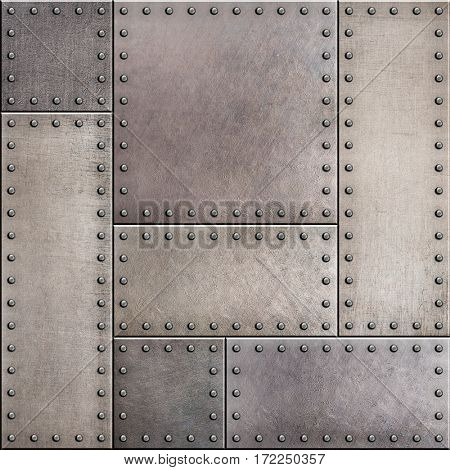 stained metal plates with rivets seamless background 3d illustration