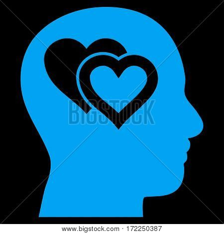 Love In Mind flat icon. Vector blue symbol. Pictograph is isolated on a black background. Trendy flat style illustration for web site design logo ads apps user interface.