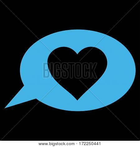 Love Message Balloon flat icon. Vector blue symbol. Pictograph is isolated on a black background. Trendy flat style illustration for web site design logo ads apps user interface.
