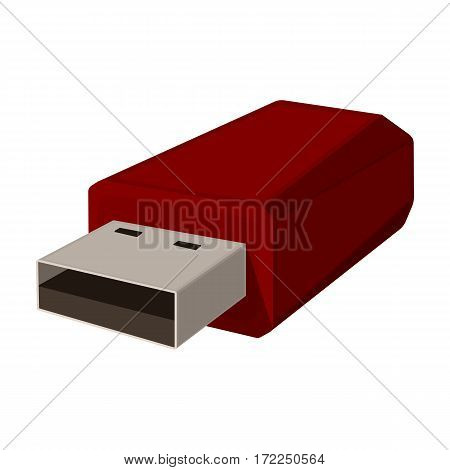 USB flash drive icon in cartoon design isolated on white background. Personal computer accessories symbol stock vector illustration.