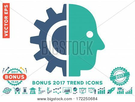 Cobalt And Cyan Cyborg Head pictogram with bonus 2017 trend images. Vector illustration style is flat iconic bicolor symbols white background.