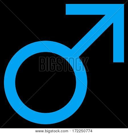Mars Male Symbol flat icon. Vector blue symbol. Pictograph is isolated on a black background. Trendy flat style illustration for web site design logo ads apps user interface.