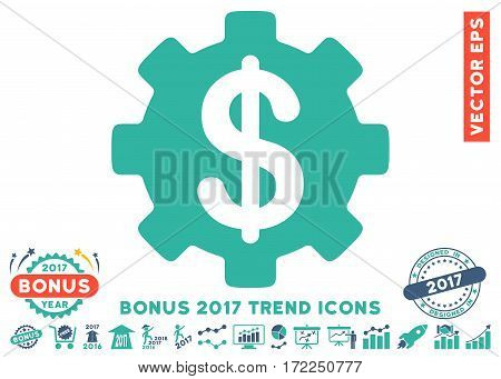 Cobalt And Cyan Development Cost pictograph with bonus 2017 trend symbols. Vector illustration style is flat iconic bicolor symbols white background.