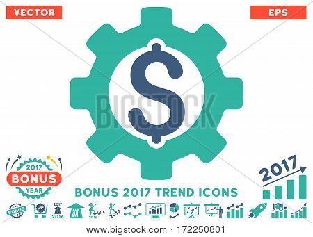 Cobalt And Cyan Development Cost icon with bonus 2017 trend pictograms. Vector illustration style is flat iconic bicolor symbols white background.