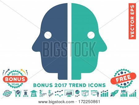 Cobalt And Cyan Dual Face pictogram with bonus 2017 trend symbols. Vector illustration style is flat iconic bicolor symbols white background.