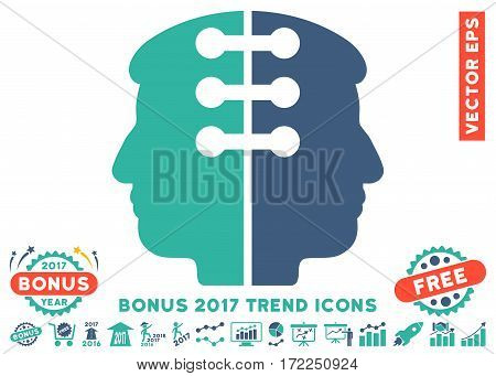 Cobalt And Cyan Dual Head Interface pictograph with bonus 2017 year trend pictograms. Vector illustration style is flat iconic bicolor symbols white background.