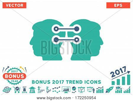 Cobalt And Cyan Dual Heads Interface Connection pictograph with bonus 2017 trend design elements. Vector illustration style is flat iconic bicolor symbols white background.