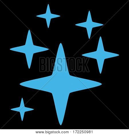 Sparkle Stars flat icon. Vector blue symbol. Pictograph is isolated on a black background. Trendy flat style illustration for web site design logo ads apps user interface.