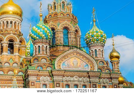St Petersburg Russia - Cathedral of Our Savior on Spilled Blood in St Petersburg Russia - closeup of domes and architecture details of St Petersburg Russia landmark. St Petersburg Russia - architecture view.