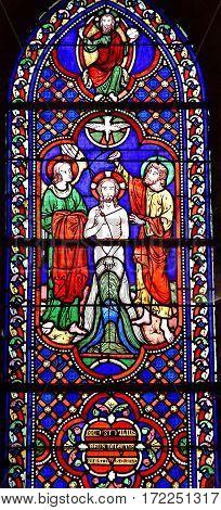 Auvers sur Oise France - august 14 2016 : window in the Notre Dame de l Assomption church