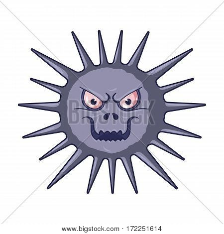 Gray virus icon in cartoon design isolated on white background. Viruses and bacteries symbol stock vector illustration.