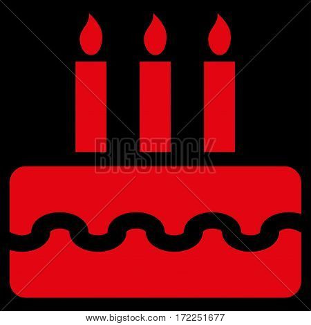 Birthday Cake flat icon. Vector red symbol. Pictogram is isolated on a black background. Trendy flat style illustration for web site design logo ads apps user interface.