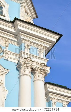 Columns of Naval Cathedral of St. Nicholas and the Epiphany in St.Petersburg at sunny evening Russia.