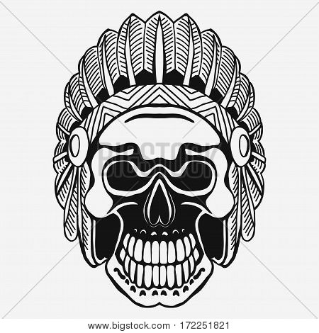 Indian Skull with Tribal feather Hat. Dead Chief in war bonnet. Native American Indian Headdress. Vector