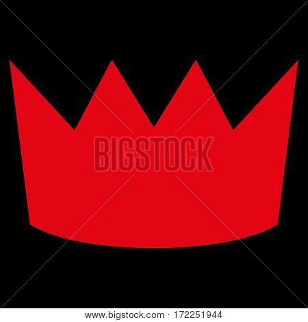 Crown flat icon. Vector red symbol. Pictogram is isolated on a black background. Trendy flat style illustration for web site design logo ads apps user interface.