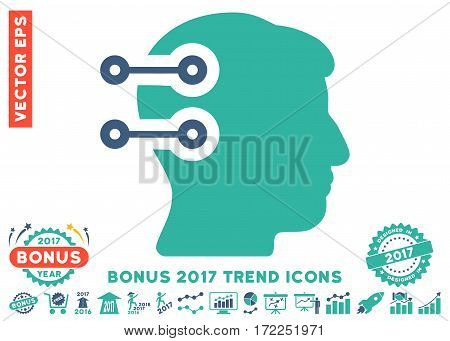 Cobalt And Cyan Head Connectors pictogram with bonus 2017 trend images. Vector illustration style is flat iconic bicolor symbols white background.