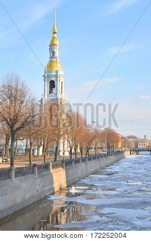 Bell tower of Naval Cathedral of St. Nicholas and the Epiphany in St.Petersburg at sunny day Russia.