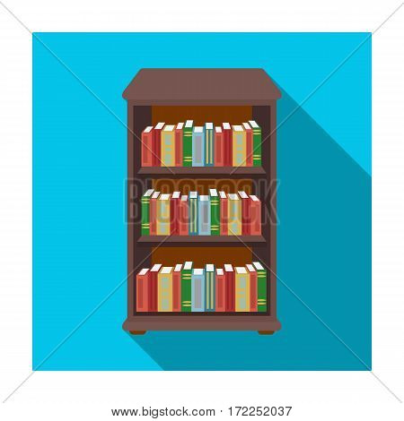 Bookcase with books icon in flat design isolated on white background. Library and bookstore symbol stock vector illustration.