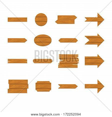 Wooden sign and arrow icon set isolated on white background