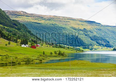 Summer Mountains Landscape In Norway.